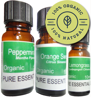 Certified organic aromatherapy essential oils.